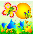 Summer sunny landscape with flowers and butterflie vector image