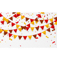 Thanksgiving day flags garland on transparent