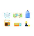 travel icons set necessary supplies for trip and vector image vector image