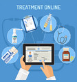 treatment online concept vector image
