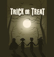 trick or treat group of children in the forest on vector image vector image