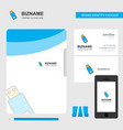 usb business logo file cover visiting card and vector image vector image