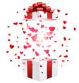 Valentine background with gift vector image