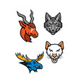 wildlife head mascot collection vector image vector image