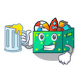 with juice kids toys in the cartoon box vector image vector image