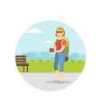 woman travelling with backpack on summer vacation vector image vector image