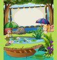 banner template with kids by the pond vector image vector image