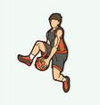 basketball player action cartoon graphic vector image vector image