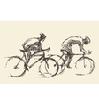Bicyclist rider mans bike hand drawn sketch vector image vector image