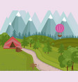 camping tent in the mountains background vector image