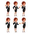 Cartoon business woman gestions set vector image vector image