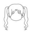 chibi anime girl avatar contour default vector image vector image