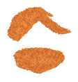 chicken wing fried on a white background vector image