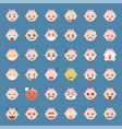 cute baby girl emoticon set flat style vector image vector image