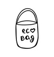 cute hand drawn doodle eco bag isolated on white vector image vector image