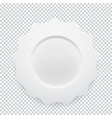 empty white round plate on transparent background vector image vector image