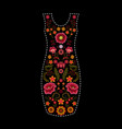 fashion dress template with floral embroidery vector image vector image