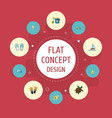 flat icons sorbet tortoise slippers and other vector image vector image