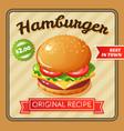 hamburger flat poster vector image vector image