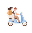 happy love couple traveling on modern motor vector image vector image