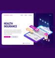 health insurance isometric landing page banner vector image