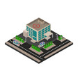 isometric hospital icon in on white background vector image vector image