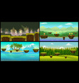 landscape cartoon seamless backgrounds set vector image vector image