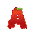letter a strawberry font red berry lettering vector image vector image