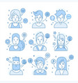 linear flat people faces icon set