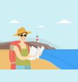 man travelling with backpack male tourist vector image
