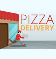 pizza delivery concept banner cartoon style vector image vector image