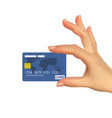 realistic 3d silhouette of hand with credit card vector image