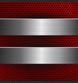 red metal perforated background with brushed steel vector image vector image