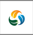 round colored leaf logo design vector image
