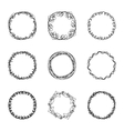set of nine abstract chaotic round frame brush vector image vector image