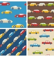 Set of seamless patterns with cars vector image vector image