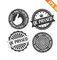 Stamp sticker QC Pass collection - - EPS10 vector image