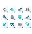 stylized optic and lens equipment icons vector image vector image