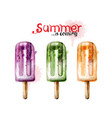 summer ice cream watercolor colorful juicy vector image vector image