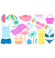 summer set decorative items for a beach vector image vector image
