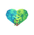 teal and green chameleons in the shape of a heart vector image vector image