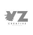 vz v z zebra letter logo design with black and vector image vector image