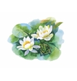 Watercolor white water-lilly flowers pattern with vector image