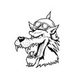 wolf head animal cartoon character vector image