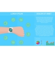 Smartwatch fitness tracker concept with icons of vector image