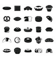bakery products black icons set vector image