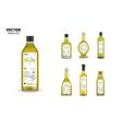 extra virgin olive oil glass bottles set vector image