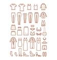 Womens clothing female fashion line icons vector image