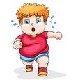 A fat Caucasian kid running vector image vector image