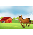 A horse at the farm with a barn at the back vector | Price: 1 Credit (USD $1)